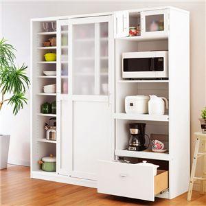 キッチンボード/キッチン収納 【たっぷり家電収納タイプ】 幅90cm スライドテーブル シルバー×ホワイト