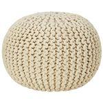 座れるクッション/ボールクッション 「コロン」 アイボリー 直径45cm×高さ30cm 表地:インド綿100%