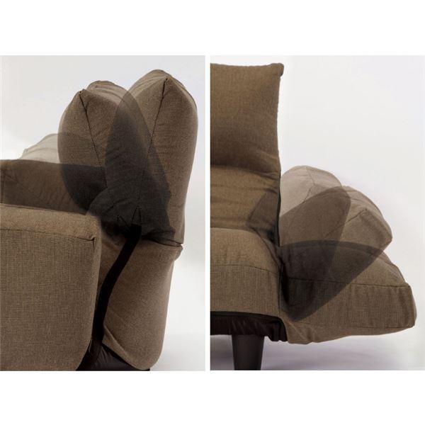 ふっくらリクライニングソファー/ローソファー 【2人掛け/花柄】 肘付き コンパクトサイズ