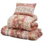 羊毛入り抗菌/防臭/防ダニ布団セット 【シングルサイズ/3点セット】 レッド 枕付き 日本製