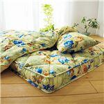 極厚敷布団付き寝具セット 【ダブルサイズ 4点セット/グリーン】 掛け布団・枕セット