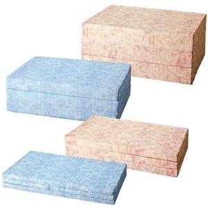 バランスマットレス/三つ折りマットレス 【ブルー/ダブルサイズ 厚さ14cm】 ベッド用/布団用