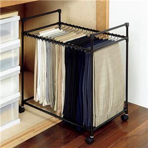 スカート&スラックスハンガー/衣類収納 【コンパクトサイズ】 幅66cm スチール製 キャスター付き