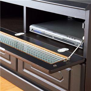 素敵なフラップ扉デザインテレビ台/テレビボード 【幅90cm】 クロスガラス使用 引き出し収納付き の画像