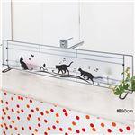 黒ネコ柄水はね防止スクリーン/パーテーション 【幅90cm】 本体:スチール 棚付き 日本製