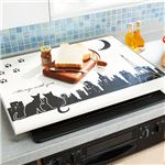 黒ネコ柄コンロカバー/キッチン作業台 【69cm×52cm×7cm】 スチール 日本製