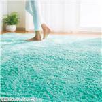 さらふわシャギーラグマット/絨毯 【約185cm×185cm/ミントグリーン】 ホットカーペット対応 表側:ポリエステル100%