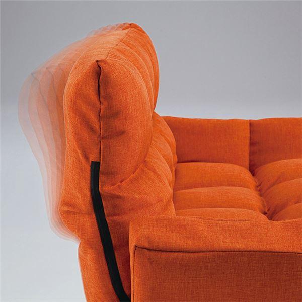 ふっくらリクライニングソファー 【オレンジ】 2人掛け 肘付き 背部6段階リクライニング2