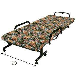 低反発折りたたみベッド【シングルサイズ/花柄】幅93cmキャスター付き背部14段階リクライニング