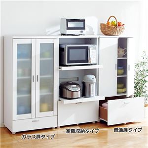 コンパクト食器棚/キッチン収納棚 【普通扉タイプ】 幅60cm 引き出し収納付き ホワイト(白) - 拡大画像