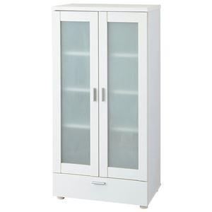 コンパクト食器棚/キッチン収納棚 【ガラス扉タイプ】 幅60cm 引き出し収納付き ホワイト(白) - 拡大画像
