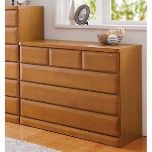 天然木多サイズチェスト/収納棚【4段/幅100cm】ライトブラウン木製鍵付き
