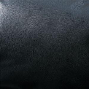 脚付きふかふかカウチソファー/ローソファー 【ブラックレザー調】 肘付き 「LIRAKU」 6段階リクライニング