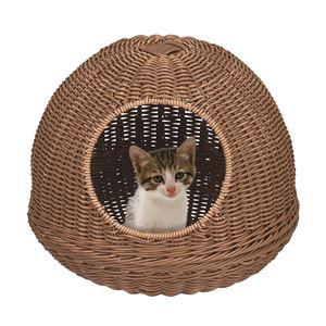 洗えるねこちぐら/猫ハウス 【ブラウン】 幅41cm×奥行41cm×高さ33cm 樹脂製 〔ペット用品 ペットグッズ〕