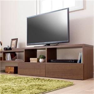 伸縮できるおしゃれなテレビ台/テレビボード 【幅90cm ブラウン】 26型〜60型対応 引き出し収納付き - 拡大画像