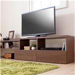 伸縮できるおしゃれなテレビ台/テレビボード 【幅120cm ブラウン】 37型〜80型対応 引き出し収納付き の画像