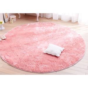 抗菌・防臭・ウォッシャブルさらふわシャギーラグマット 【円形サークル/約185×185cm】 ベビーピンク 洗える すべりにくい加工