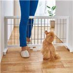 伸縮ペットゲート/ペットゲージ 【レギュラー ホワイト】 幅67〜116cm 天然木 〔犬用品 猫用品 ペット用品〕