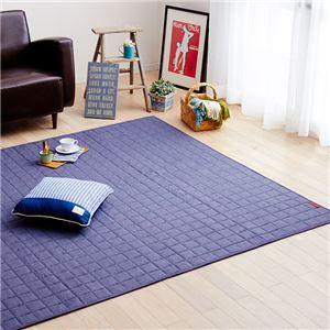 デニム調ふんわりウォッシャブルキルトラグマット/絨毯 【ブルー 約90cm×120cm】 長方形 洗える 綿100% 滑り止め付き