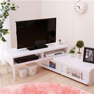 伸縮テレビ台/テレビボード 【ホワイト】 幅105〜200cm 26型〜42型対応 飾れる引き出し付き 収納 天然木