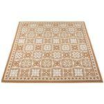 リゾートテイスト ジャカード織ラグマット/絨毯 【正方形 約185cm×185cm ベージュ】 裏地:不織布 『シーヤン』