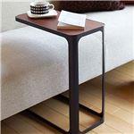 木目調フレーム付ソファサイドテーブル ブラック