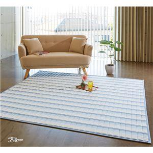 綿100% しじら織ラグマット/絨毯 【約130cm×180cm ブルー】 長方形 洗える 折りたたみ 収納 フローリング傷防止