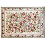 ローズ柄シェニール織ラグマット/絨毯 【長方形 140cm×200cm】 ピンク 敷物 〔リビング 玄関 寝室〕の画像
