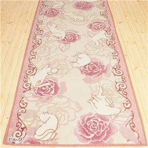 キャット&ローズ抗菌防臭撥水ロングマット ピンク 約65×180cm