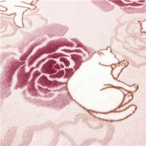 キャット&ローズ抗菌防臭撥水ロングマット ピンク 約65×240cm