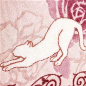 キャット&ローズ抗菌防臭撥水ロングマット ピンク 約65×340cm