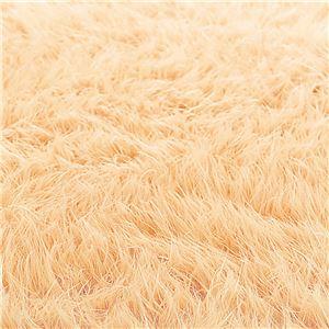 ふんわりボリューム!防炎シャギーラグマット/絨毯 【オレンジ 約190cm×190cm】 正方形 日本製 折りたたみ