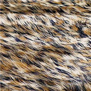 ふんわりボリューム!防炎シャギーラグマット/絨毯 【ヒョウ 約90cm×120cm】 長方形 日本製 折りたたみ