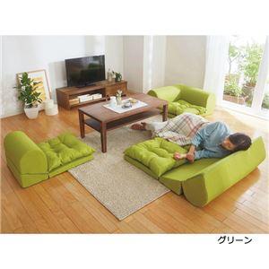 【日本製】クッションフロアコーナーソファ ネイビーフラワー