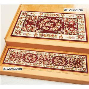 光沢のあるシルクタッチウィルトン織玄関マット 【約150×90cm】 レッド