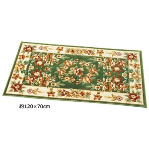 光沢のあるシルクタッチウィルトン織玄関マット 【約150×30cm】 グリーン