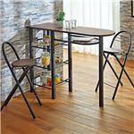 カウンターテーブル&チェア2脚セット(バーテーブル・ハイテーブル) ブラウン