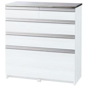 清潔なステンレス大量収納カウンター(キッチンカウンター) 【引き出しタイプ幅80cm】 ホワイト