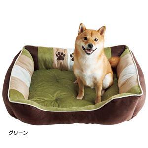 ふかふかペットベッド2(ペット用ベッド・寝床・洗える)(犬用・猫用・犬猫用・ドッグ・キャット)【LL】グリーン