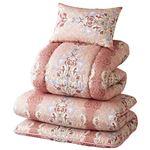 ウルトラボリューム布団セット 【ピンク ダブル 4点セット】 日本製 綿混 ポリエステル 〔寝室 ベッドルーム〕