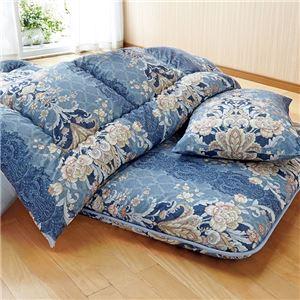 ウルトラボリューム布団セット 【ブルー ダブル 4点セット】 日本製 綿混 ポリエステル 〔寝室 ベッドルーム〕