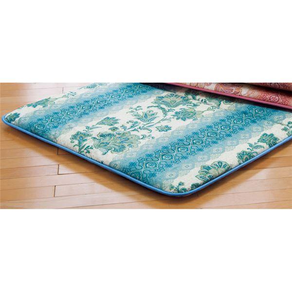 固わたマットレス/寝具 【ブルー シングル】 床付き軽減 日本製 ポリエステル 綿混 〔ベッドルーム 寝室〕