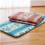 固わたマットレス/寝具 【ブルー ダブル】 床付き軽減 日本製 ポリエステル 綿混 〔ベッドルーム 寝室〕
