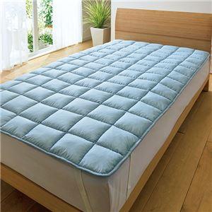 ポコポコ敷きパッド/寝具 【ブルー ダブル】 140cm×200cm ポリエステル100% 〔寝室 ベッドルーム〕