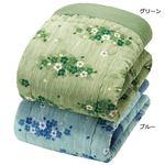 楊柳 肌掛け布団 【シングル グリーン】 日本製 綿100% 〔寝室 寝間 ベッドルーム〕