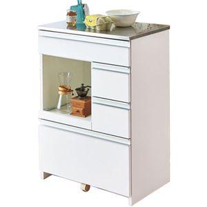 家電収納型 キッチンカウンター/キッチン収納 【ホワイト 幅60cm】 ステンレス製天板 引き出し5杯 キャスター付き