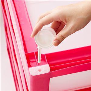 ワイド 収納ケース/チェスト 【ピンク 4段】 幅60cm 日本製 引き出し4杯 キャスター付き ポリプロピレン