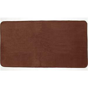 シンプル ラグマット/絨毯 【ブラウン 約92×185cm】 長方形 ホットカーペット対応 防滑加工 ウレタンフォーム