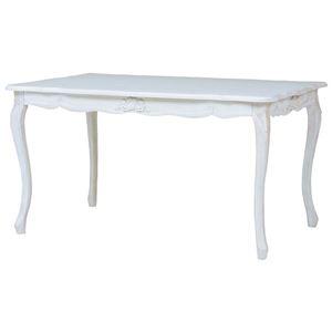アンティーク調 ダイニングテーブル 【幅135cm】 木製 ウレタン 『フレンチリボンデザイン猫脚家具』 〔リビング〕