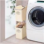 ランドリーラック/バスケット 2個セット 【アイボリー】 24L 日本製 スタッキング可 取っ手付き 〔脱衣所 洗面所〕の画像